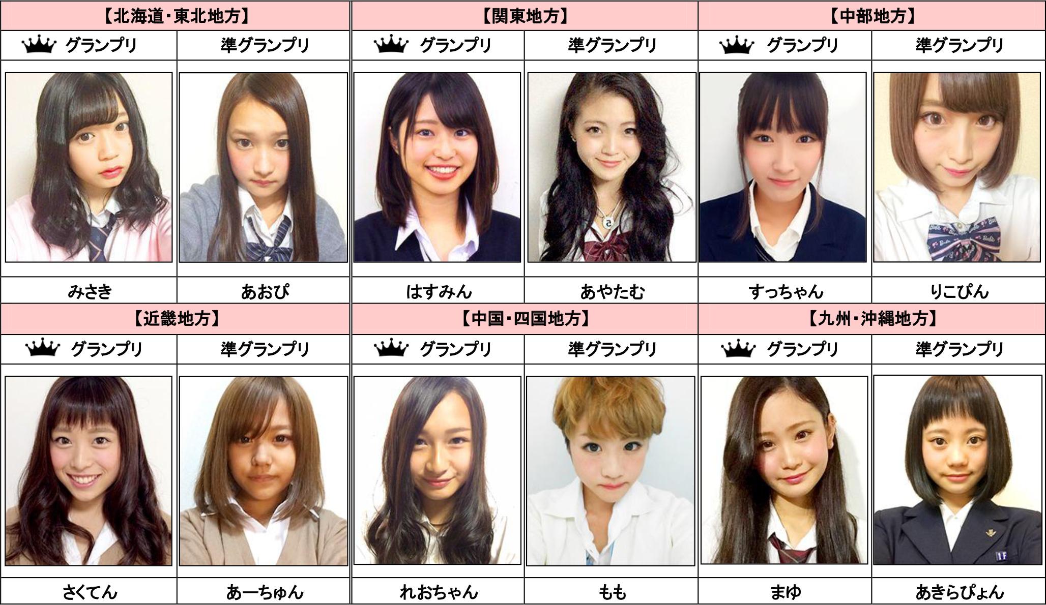 「女子高生ミスコン」地方グランプリ、準グランプリ受賞者