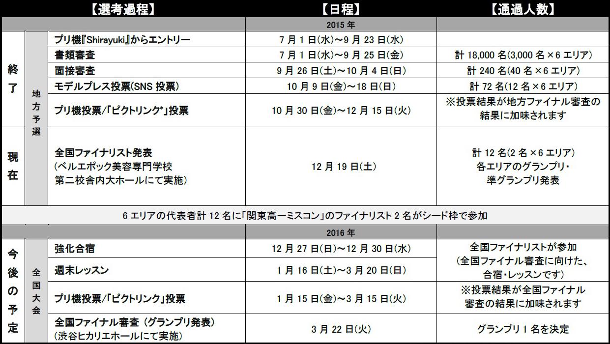 「女子高生ミスコン」選考スケジュール